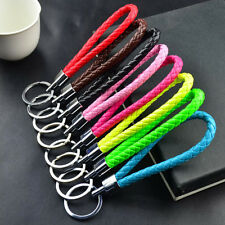 Braided PU  Leather Strap Keyring Keychain Car Key Chain Ring Key Fob