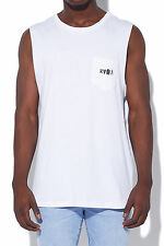New RVCA Mens Ransom Pocket Muscle White