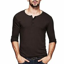 New Fashion Mens Henley T-shirt Long Sleeve Solid Slim Fitted Basic Tee M to 2XL