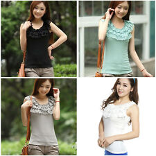 Women Elegant Round Tiered Lace Collar Sleeveless Blouse Fitted Cotton Tops Vest