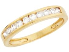 10k / 14k Yellow Gold White CZ Thin Eternity Band Design Ladies Ring