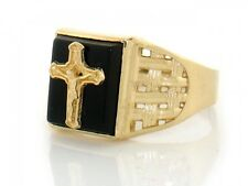 10k or 14k Solid Yellow Gold Onyx Cross Religious Mens Ring