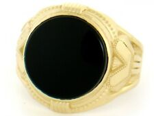 10k / 14k Solid Yellow Gold 14mm Round Onyx Mens Ring