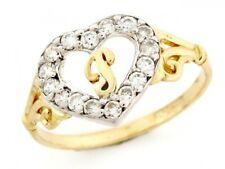 10k / 14k Gold Heart Shape Letter 'p' Initial CZ Ring Jewelry