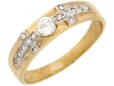 10k / 14k Two Toned Real Gold Square White CZ Cross Wedding Band Mens Ring