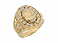 10k or 14k Two Tone Gold White CZ Religious Jesus Face Mens Ring