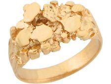 10k / 14k Solid Yellow Gold Attractive Design Unisex Nugget Ring