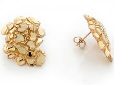 10k / 14k Solid Yellow Gold 1.9cm Nugget Pin Earrings