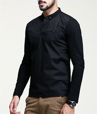 Amazing Mens Casual Shirt Stand Collar Long Sleeve Stitching Shirt Cotton M~XXL