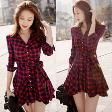 Casual Women Red Plaids Check Blouse Long Sleeve Swing Hem Dress Shirts BH