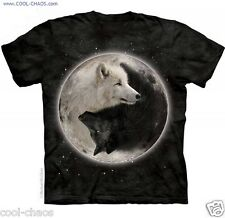 Pitch Black Starry Night Yin Yang Wolf T-Shirt / Wolf Lovers;Wolves Art Tee