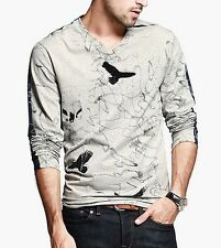 Amazing Mens Casual T-Shirt Long Sleeves Gray V Neck Eagle Pattern T-shirt M~XL