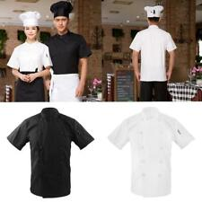 Men's Women's Double Breasted Short Sleeve Chef Jacket Coat Uniform Cook Clothes