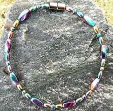 Mens Womens 100% RAINBOW Magnetic Hematite Anklet Necklace Bracelet Healing 1Row