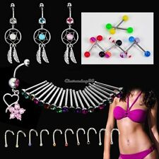 Crystal Catcher Navel Dangle Barbell Nose Tongue Belly Bar Ring Body C1MY