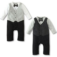 Baby Boy Wedding Formal Party Bow Tie Tuxedo Suit Romper Jumpsuit Outfits 0-18M