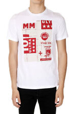 MAISON MARTIN MARGIELA MM10 Man White Printed Crewneck Cotton T-Shirt Italy Made