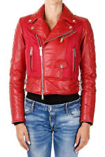 DSQUARED2 Dsquared² New Red Women Biker Leather Padded Coat Jacket NWT