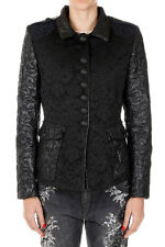 AMEN Women Black Jacquard MIX BROCADE MILITARY Jacket Made in Italy