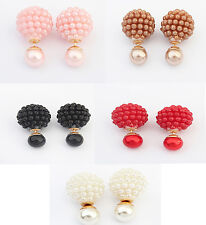 Women's Girl's Double Sided Imitation Pearl Statement Ball Stud Earrings 5 Cols