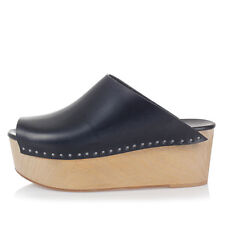 RICK OWENS Women CLOG leather wedge sandals Black made in Italy