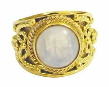 Rainbow Moonstone Gold Plated Ring L-1.5 aesthetic White handmade AU K,M,O,Q