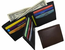 Mens Bifold Center Flap Lambskin Leather Wallet and Credit Card Holder