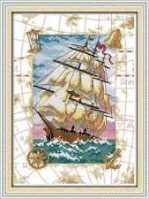 Oceangoing voyage cross stitch kits boat globe aida 14 counted print fabric set
