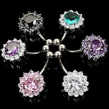 Bar Surgical Steel  Belly Navel Ring Jewelry Body Piercing Crystal Flower