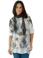 New Womens Italian Lagenlook Lace Scarf Layered Floral Sparkle Top Plus Size