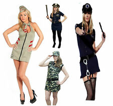 Ladies Police Mayhem Camouflag Fancy Dress Costume Sexy Cop Outfit Size S M L XL
