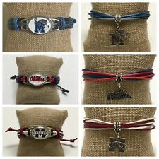 College Football Team Leather Bracelet NCAA Ole Miss Rebels MS State Bulldogs