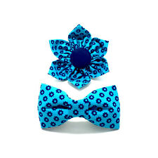 Flower Bow Tie Kitten Cat Dog Blue Floral Collar Accessory New Handmade in USA