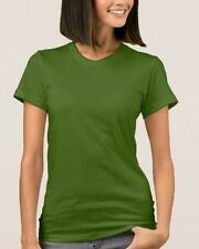 American Apparel Women's Olive Green Plain Jersey T-Shirt S-L NEW
