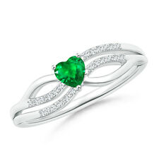 Solitaire Natural Emerald Heart Promise Ring with Diamond Accents 14k White Gold