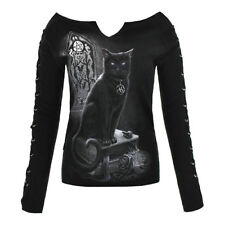 Spiral Direct Womens Gothic Catwitchtee Shoulder Lace Up Witch Cat Black Top