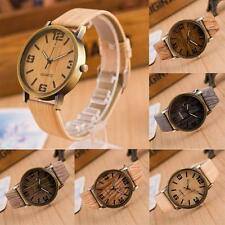 Fashion Vintage Jewelry Leather Strap Wristwatch Quartz Analog Wooden