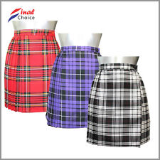 "Ladies Tartan Pleated Wrap Over Buttoned Kilt Skirt 18"" Sz 8 10 12 14 16 18 »"