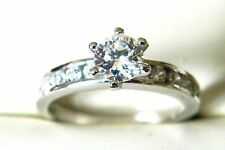 NEW Sterling Silver Ladies/Womens Clear CZ Solitaire Ring Sizes L-U