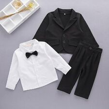 Baby Boy Wedding Christening Tuxedo Party Outfit Suits Jacket+Pants Clothes Set