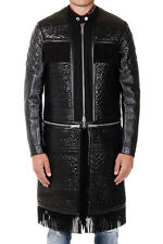 DSQUARED2 D2 New men Black Leather Wool Jacket Coat Made in Italy