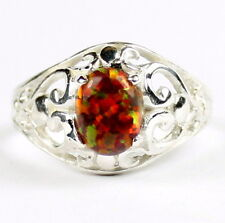 Created Red Brown Opal, 925 Sterling Silver Ring, SR111-Handmade