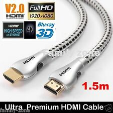 HDMI Cable V2.0 4K Ultra HD Premium Gold Plated 3D High Speed Ethernet 1m-5m