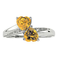 .70 Ct Heart Natural Yellow Citrine Diamond Accent 925 Sterling Silver Ring