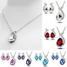 3pcs Women Chain Crystal Pendant Necklace Silver Plated Stud Earring Set