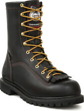 Georgia Mens Black Leather Insulated 8in Low Heel Logger Boots