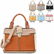 Ladies Briefcase Style Faux Leather Handbag Work Bag Shoulder Bag 8050