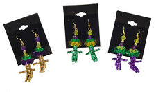 Mardi Gras Purple, Green, or Gold King Cake Baby Beaded Fashion Dangle Earrings