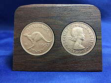 60th wedding anniversary Jarrah Plaque w/ 1957 penny. Other years available