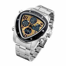 Mens Dual Time Analog Digital LED Sport Wrist Watch Stainless Steel Band